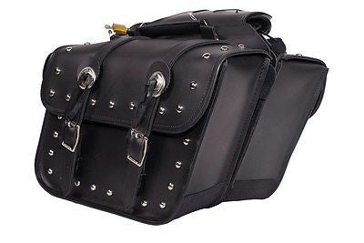 MOTORCYCLE WATERPROOF 2 PC STUD PVC SADDLEBAG WITH CONCHOS GREAT QUALITY