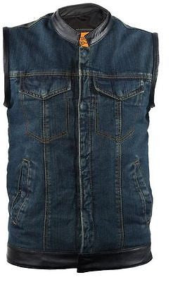 MEN'S SON OF ANARCHY BLUE TEXTILE MOTORCYCLE VEST W/LEATHER TRIM TWO GUN POCKETS
