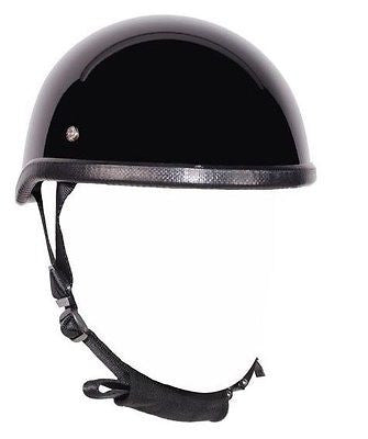 MOTORCYCLE GLOSS BLACK SKULL CAP NOVELTY HELMET BLACK NOT W/CHIN STRAP NOT DOT