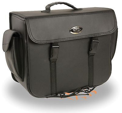 MOTORCYCLE BLACK SADDLEBAG PLAIN TWO STRAP LARGE SIZE ZIP OFF BAG 16 *13 *7