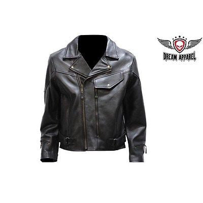 MEN'S MOTORCYCLE COW HIDE LEATHER JACKET WITH PISTOL PETE GUN POCKET WITH BRAID