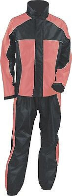 MOTORCYCLE BLK/PINK WOMEN'S RAIN GEAR WATERPROF LIGHTWEIGHT REFLECTIVE W/HUDDY