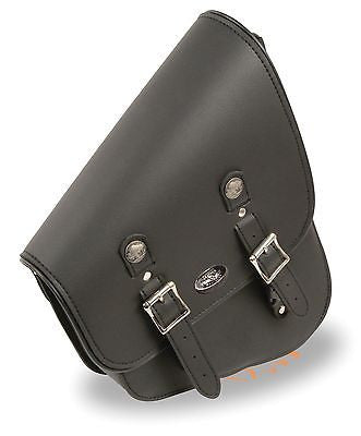 MOTORCYCLE MEDIUM SWING ARM SADDLEBAG TWO STRAP WITH BUFFALO NICKEL RIGHT SIDE
