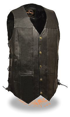 Men's Motorcycle blk 10 Pocket Tall Leather vest with 2 gun pockets inside