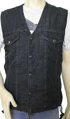 MEN'S BLACK DENIM MOTORCYCLE MOTORBIKE VEST WITH SIDE LACES
