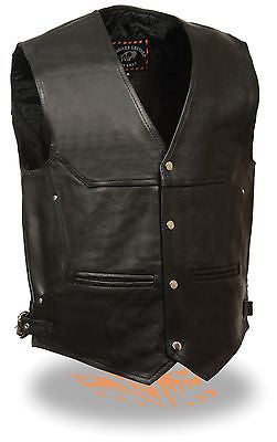 MEN'S MOTORCYCLE DEEP POCKET LEATHER VEST WITH SIDEBUCKLE SOFT DURABLE LEATHER