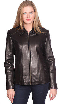 WOMEN'S SCUBA FRONT ZIPPER LEATHER JACKET NEW ZEALAND LAMB SKIN VERY SOFT