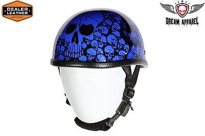 MOTORCYCLE BLUE EAGLE NOVELTY HELMET W/BONEYARD GRAPHIC W/CHIN STRAP COMFORTABLE