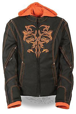 WOMEN'S MOTORCYCLE RIDING BLK/ORANGE TEXTILE JACKET W/REFLECTIVE TRIBAL DETAIL