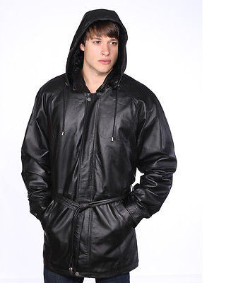 MEN'S LONG 3/4 PARKA MID-LENGHT HOODED PREMIUM NAPPA LEATHER JACKET BLACK