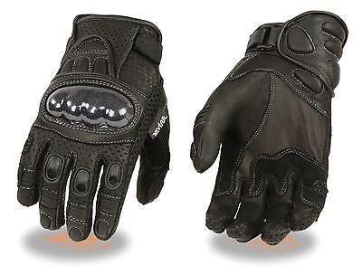 MEN'S PERFORATED PANELS W/HARD CARBON KNUCKLES & GEL PALM KNOCK OUT GLOVE - Leather Place