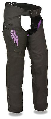 Motorcycle women's light weight purple textile chap with wing and rivet detailing