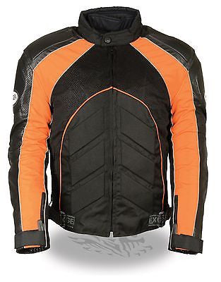 MEN'S MOTORCYCLE ORANGE COMBO LEATHER/TEXTILE MESH RACER JACKET W/ARMOUR INSIDE