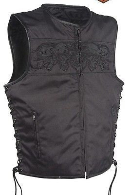 MEN'S MOTORCYCLE SKULL TEXTLE VEST W/2GUN POCKETS & SIDE LACES WITH LEATHER TRIM