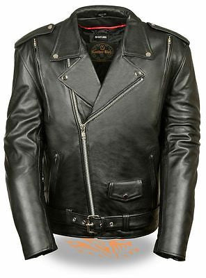 MEN'S MOTORCYCLE COWHIDE CLASSIC M/C JACKET POLICE TERMINATOR STYLE