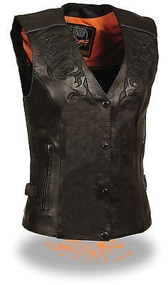 WOMEN'S MOTORCYCLE RIDING BLK LEATHER VEST W/REFLECTIVE TRIBAL DESIGN & PIPING