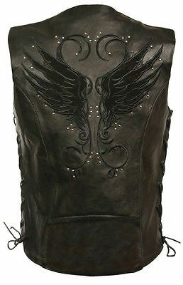 WOMEN'S MOTORCYCLE BLACK LEATHER VEST W/ STUD & WINGS DETAILING 2GUNPOCKETS SEXY