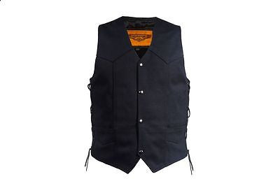 MEN'S MOTORBIKE SIDE LACE BLK PLAIN DENIM VEST & 2 GUN POCKETS W/NOZZLE STRAP