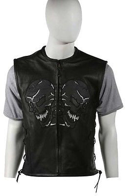 MEN'S SIDE LACE SKULL LEATHER VEST WITH REFLECTIVE FEATURE COW NAKED NEW