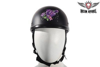MOTORCYCLE WOMEN'S FLATBLK PURPL ROSE DESIGN GRAPHIC NOT DOT APROV GREAT QUALITY