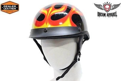 MOTORCYCLE BRAND NEW 200 DOT SERIES HALF HELMET WITH FLAME GRAPHIC GREAT PRICE