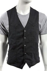 MEN'S MOTORBIKE SIDE LACE BLK PLAIN DENIM VEST W/5 SNAP BUTTONS & 2 GUN POCKETS