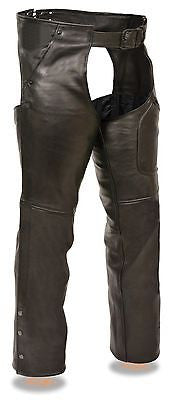 MOTORYCLE MENS BLK THREE POCKET CHAP WITH THIGH PATCH POCKET VERY SOFT LEATHER