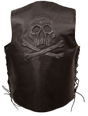 Men's Motorcycle Retro Brn Skull & Cross Bones embossed back leather vest