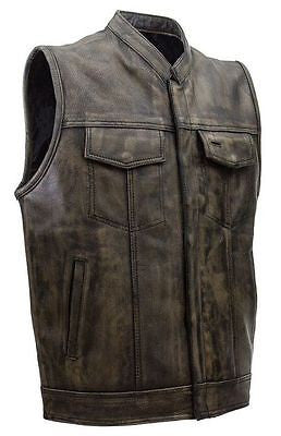 Men's Motorcycle Son of anarcy distressed leather vest with 2 Gun pockets