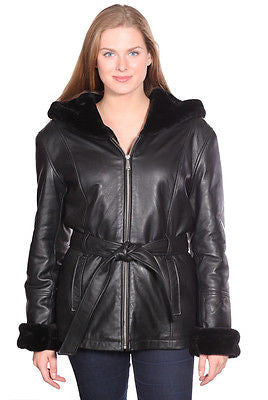 WOMEN'S PARKA GENIUNE LEATHER BUTTERSOFT FULLY LINED FUR WITH HOOD SOFT NEW