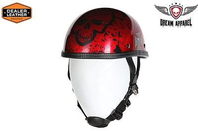 MOTORCYCLE SHINY EAGLE NOVELTY HELMET W/BURGANDY BONEYARD GRAPHIC W/CHIN STRAP