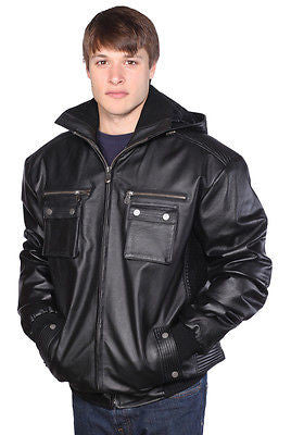 MEN'S BLK  BOMER LEATHER JACKET WITH REMOVABLE HOOD VERY SOFT LEATHER W/ELASTICS