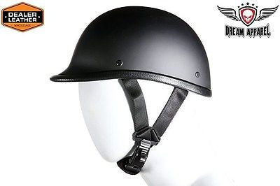 FLAT BLACK JOCKEY NOVELTY MOTORCYCLE MOTORBIKE HELMET BLACK NOT DOT APPROVED