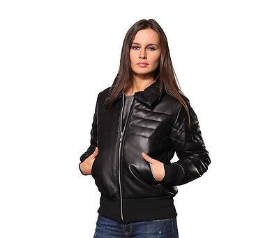 WOMEN'S GENUINE LEATHER JACKET BUTTER SOFT NEW ZEALAND LAMB LEATHER