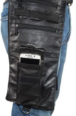 MOTORCYLE RIDING THIGH FANNY PACK GENUINE LEATHER WITH MANY POCKETS& GUN POCKET