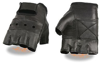 MOTORCYCLE MEN'S FINGERLESS GLOVES VERY SOFT REAL LEATHER WITH GEL PALM