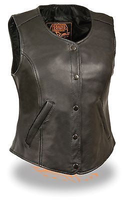 MOTORCYCLE CLASSIC LADIES OPEN NECK VEST W/SNAP BUTTONS COW NEW