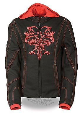 WOMEN'S MOTORCYCLE RIDING BLK/RED TEXTILE JACKET W/REFLECTIVE TRIBAL DETAIL