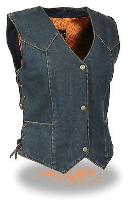 MOTORCYCLE CLASSIC LADIES BLUE DENIM VEST W/3 SNAP BUTTONS & SIDE LACES NEW