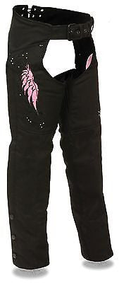 Motorcycle women's light weight textile pink chap with wing and rivet detailing
