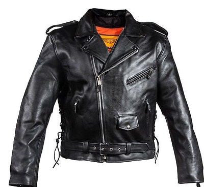 MEN'S MOTORCYCLE COWHIDE CLASSIC M/C JACKET LACE POLICE TERMINATOR STYLE