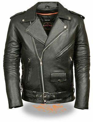 MEN'S MOTORCYCLE CLASSIC MC JACKET LACE SIDE POLICE BIKER TERMINATOR STYLE