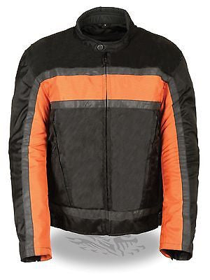 MEN'S MOTORCYCLE RACER ORANG TEXTILE JACKET WITH REFLECTIVE STRIPES WITH ARMOUR