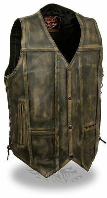 Men's 10 Pocket Distressed Retro Brn Leather vest with 2 Gun pockets inside