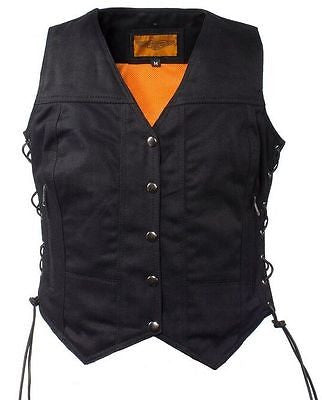 WOMEN'S MOTORCYCLE BLACK 7 POCKET DENIM VEST WITH SIDE LACES