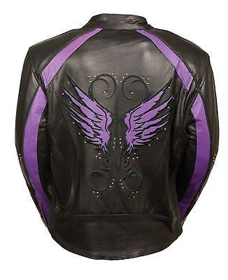 WOMEN'S MOTORCYCLE RIDING PURPLE LEATHER JACKET W/WINGS AT BACK & 2 GUNPOCKETS