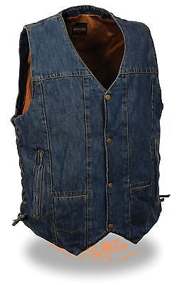 MEN'S BLUE 10 POCKET DENIM MOTORCYCLE VEST GUN POCKET W/SIDE LACES GREATPRICE