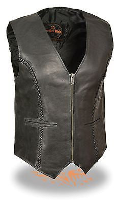 MOTORCYCLE LAMB SKIN  BRAIDED LADIES LEATHER VEST GREAT QUALITY VERY SOFT NEW