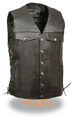 MEN'S MOTORCYCLE TALLENGTH CHEST POCKET WITH SIDE LACES & TWO GUN POCKETS INSIDE