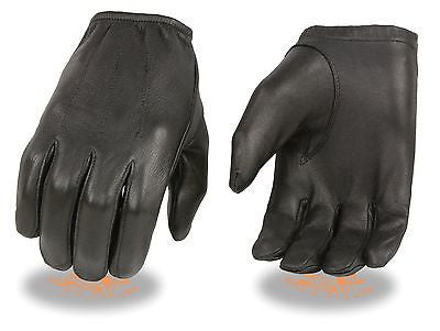 MEN'S POLICE STYLE UNLINED DRIVING GLOVES DEERSKIN LEATHER W/CINCH WRIST BLK NEW